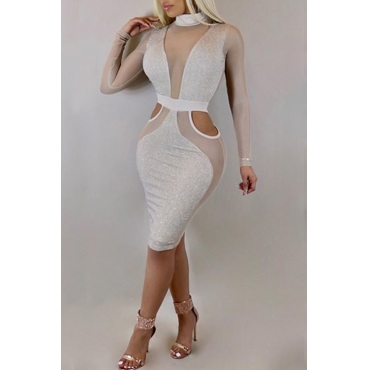 Lovely Sexy Turtleneck See-Through Hollow-out White Polyester Knee Length Dress