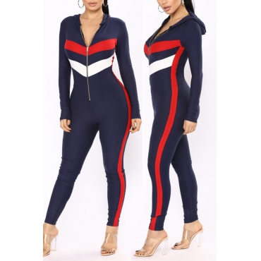 Lovely Casual Hooded Collar Patchwork Deep Blue Polyester One-piece Jumpsuits