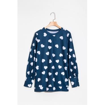 Lovely Fashion Round Neck Heart-shaped Printed Dark Blue Blending T-shirt