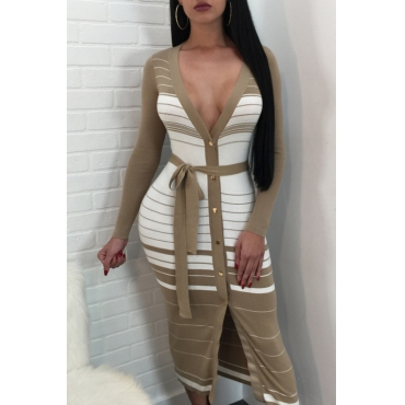 Lovely Sexy V Neck Single Breasted Striped Printed Khaki Polyester Mid Calf Dress