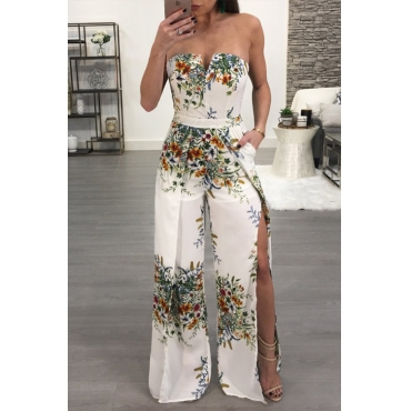 Lovely Sexy Strapless Side Slit Printed White Polyester One-piece Jumpsuits