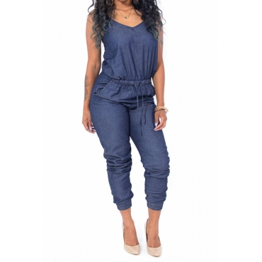 Lovely Fashion Spaghetti Strap Sleeveless Drawstring Blue Denim One-piece Jumpsuits