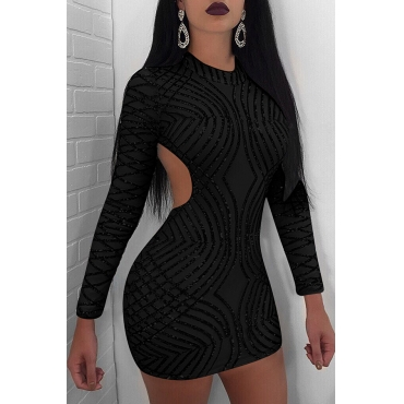 Lovely Sexy Round Neck Back Hollow-out Sequins Decoration Black Polyester Sheath Mini Dress