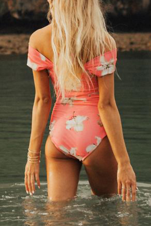 Lovely Sexy Floral Printed Pink Polyester One-piece Swimwears
