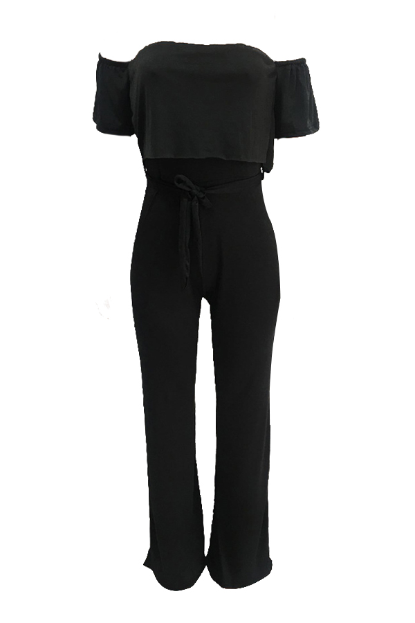 Lovely Fashion Dew Shoulder Ruffle Design Black Polyester One-piece Jumpsuits(With Belt)