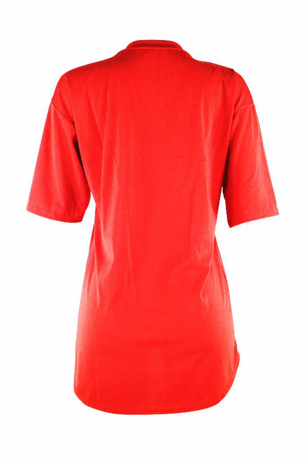 Letras De Pescoço Redondo Lindos E Adoráveis impresso Vestido De Poliéster Vermelho Mini