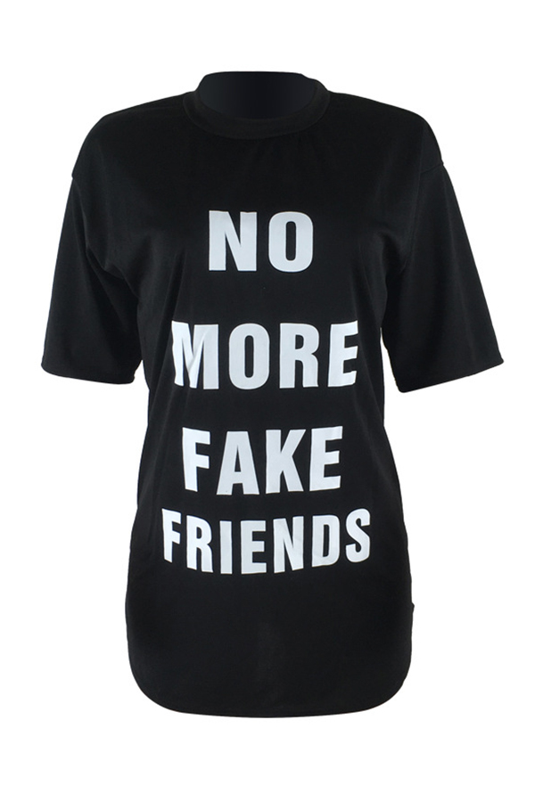 Lovely Casual Round Neck Letters Printed Black Polyester Mini Dress