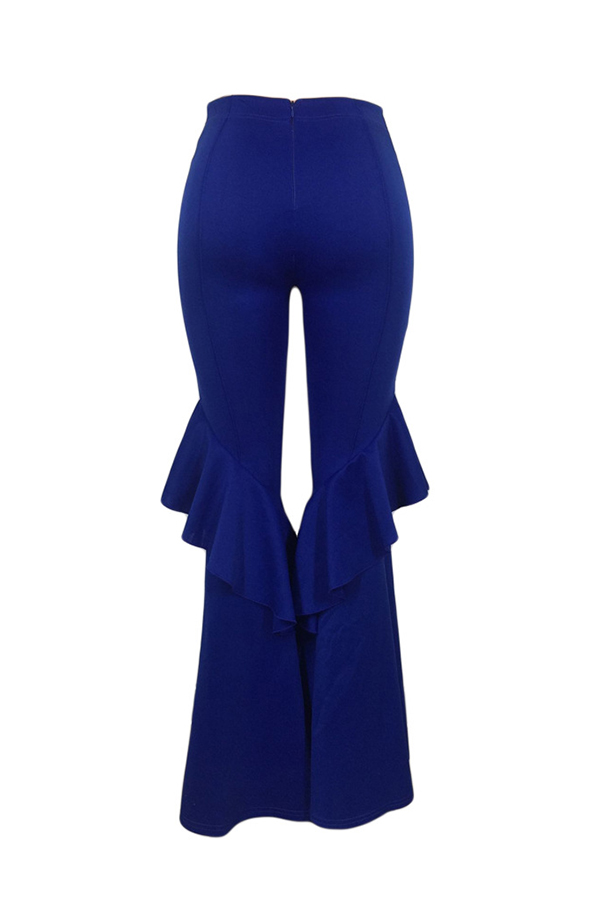 Lovely Trendy Mid Waist Falbala Zipper Design Blue Polyester Loose Pants