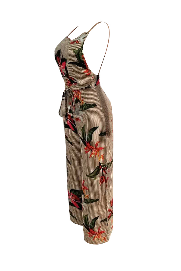 Lovely Sexy Spaghetti Strap Sleeveless Backless Floral Printed Apricot Polyester One-piece Jumpsuits