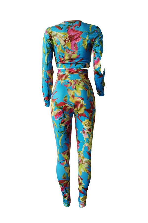Lovely Stylish V Neck Bandage Floral Printed Slit Blue Qmilch Two-Piece Pants Set