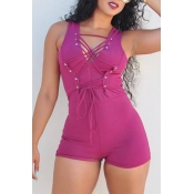 Lovely Casual V Neck Lace-up Rose Red Polyester One-piece Short Jumpsuits
