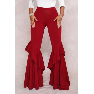 Lovely Trendy Mid Waist Falbala Zipper Design Wine Red Polyester Loose Pants