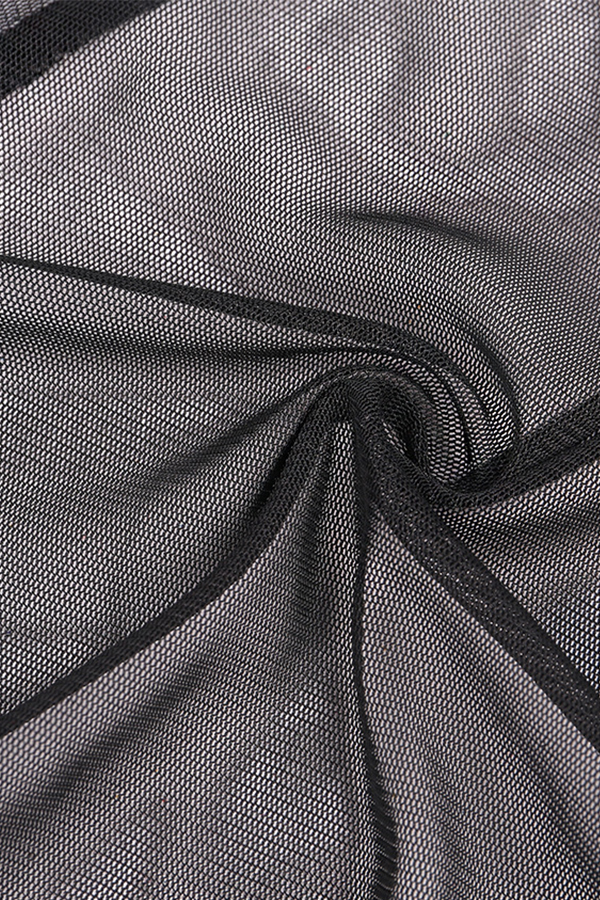 Encantadora Malla De Cintura Alta Elástica Hueco Ahuecado Pantalones De Poliéster Negro (sin Calzoncillos)
