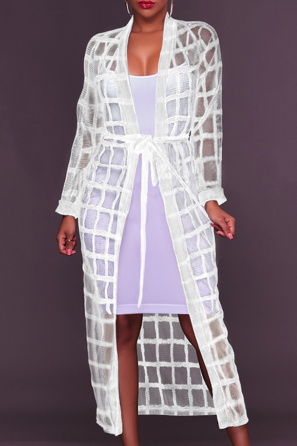 Lovely Fashion V Neck See-Through White Polyester Long Coat(Without Subcoating)