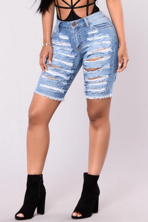 Pantaloncini Zippati In Denim Blu Baby Moda Bella Moda