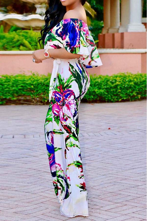 Симпатичный Модный Bateau Шея Ruffle Цветочные Печатные Белые Полиэстер Цельные Комбинезоны (с Поясом)