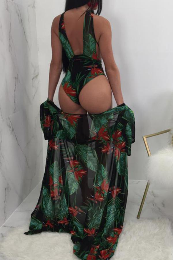 Lovely Sexy Lace-up Impressão Verde Poliéster + Spandex De Uma Peça De Banho (com Encoberta)