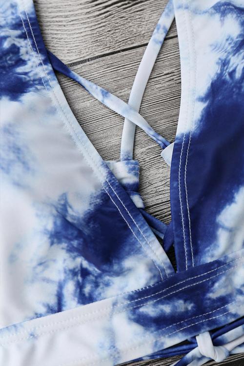 Encantadora Sexy Con Cordones Ahueca Hacia Fuera La Nube Impresa Azul Poliéster + Spandex Trajes De Baño De Dos Piezas