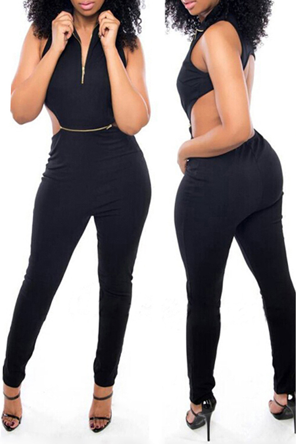 Lovely Sexy Mandarin Collar Backless Zipper Black Polyester One-piece Jumpsuits