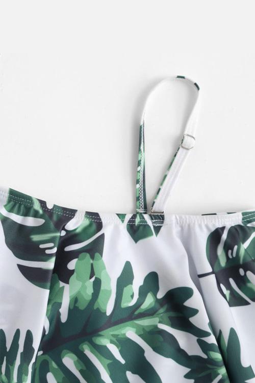 Hermosa Sexy Bateau Cuello Volante Hoja Impresa Verde Spandex Trajes De Baño De Una Sola Pieza