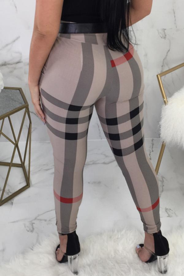 Bella Moda Alta Vita Elastica Irregolare Pantaloni In Poliestere Stampati A Righe (senza Cintura)