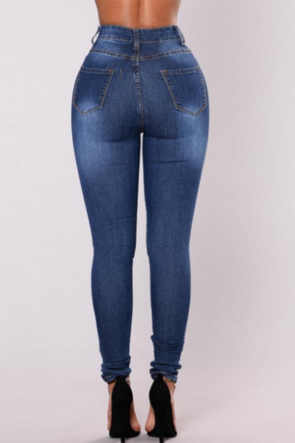 Lovely Fashion Mid Waist Broken Holes Dark Blue Denim Zipped Jeans