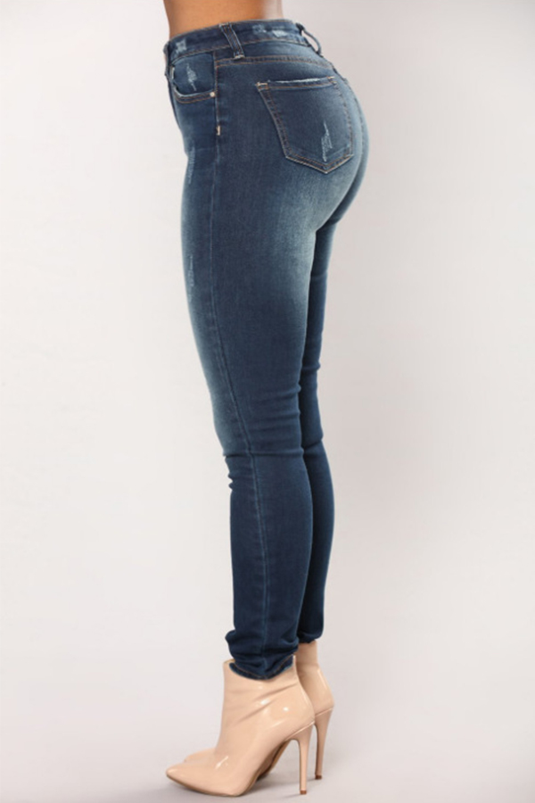 Симпатичная Мода В Середине Талии Темно-синие Джинсовые Джинсовые Джинсы