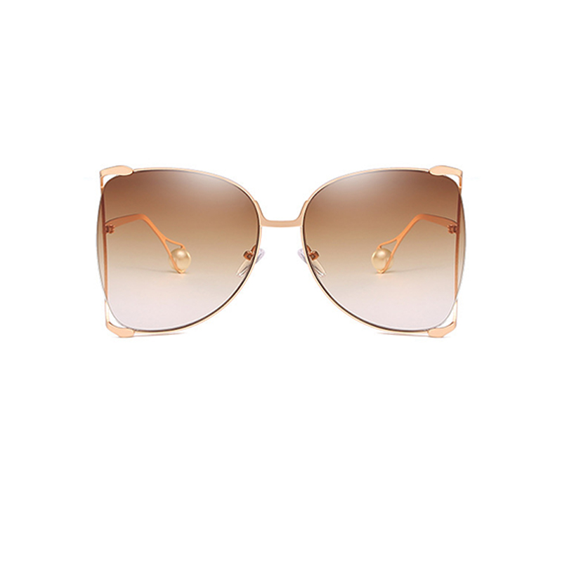 Hermosa Moda Perla Decoración Khaki PC Gafas De Sol