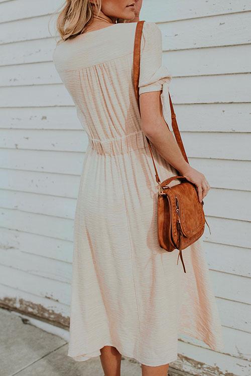 Lovely Casual V Neck Short Sleeves Beige Polyester Mid Calf Dress