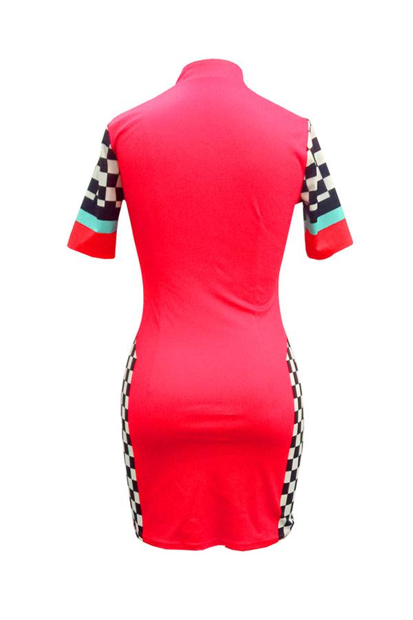 Mini Vestito Sexy Del Fodero Del Tessuto Sano Rosso Della Rappezzatura Del Collare Del Mandarino Sexy Adorabile