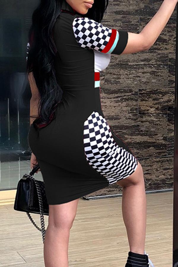 Precioso Vestido De Mandarina Sexy Patchwork Negro Tela Saludable Vaina Mini Vestido
