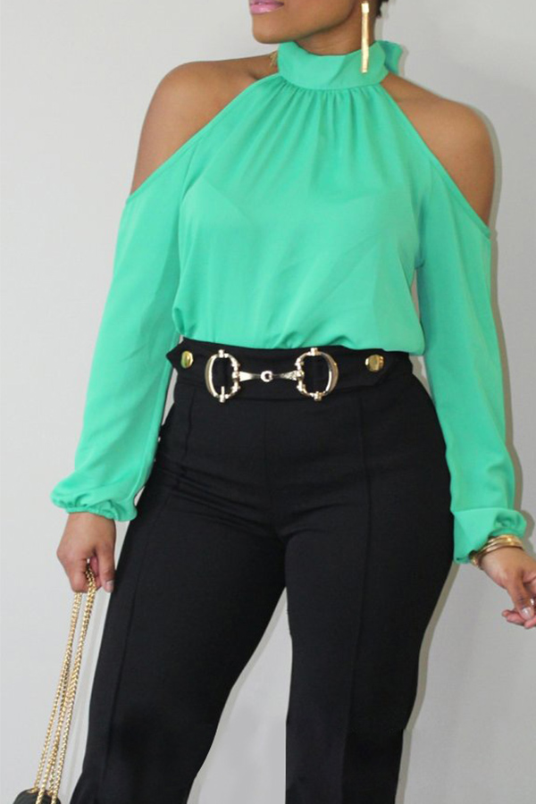 Lovely Fashion Mandarin Collar Cold-shoulder Green Polyester Shirts