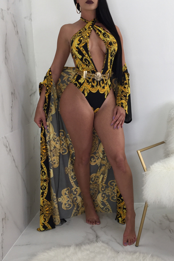Lovely Sexy V Neck Printing Black  One-piece Swimwear(With Cover-up)