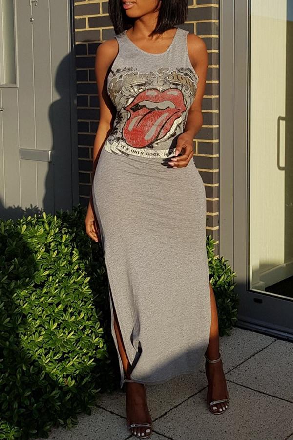Encantador Vestido De Noche De Cuello Redondo Impreso Tamaño De Tobillo De Mezcla De Algodón Gris