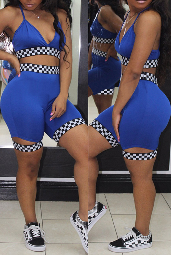 LovelySexy V Neck Plaids Printed Blue Polyester Two-piece Shorts Set