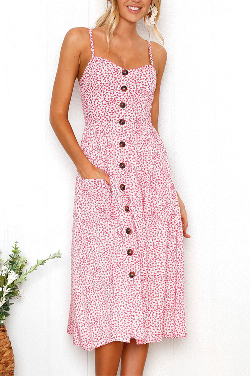 Lovely Fashion Spaghetti Strap Sleeveless Printed Pink Cotton Blend Knee Length Dress