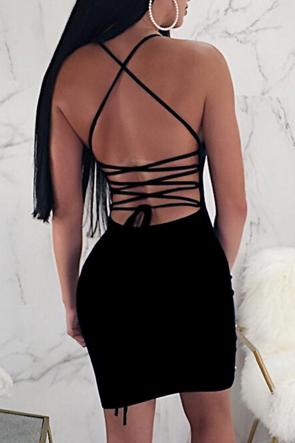 Encantador Sexy U Cuello Granos Decoración Negro Saludable Tela Hasta La Rodilla Vestido