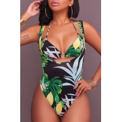 Lovely Bohemia Backless Printing Lace-up Green Polyester Two-piece Swimwears