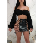 Lovely Sexy Lace-up Hollow-out Black Leather Sheat