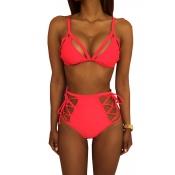 Moda Adorável Moda Lacado De Roupas De Banho Vermelho De Duas Peças De Poliéster