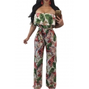 Lovely Trendy Bateau Neck Ruffle Floral Printed Green Polyester One-piece Jumpsuits(With Belt)