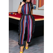 Lovely Sexy Round Neck Ruffle Striped Patchwork Red Polyester One-piece Jumpsuits