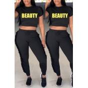 Precioso Conjunto De Pantalones De Dos Piezas De Poliéster Negro Redondo Y Casual Doblado Conjunto
