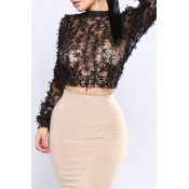 Lovely Sexy Round Neck See-Through Bow Decoration Black Gauze Tank Top