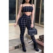 Lovely Sexy Bateau Neck Striped Black Twilled Satin Two-Piece Pants Set