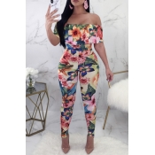 Lovely Sexy Bateau Neck Flounce Floral Printed Pin