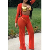 LovelySexy Hooded Collar See-Through Drawstring Orange Polyester Two-Piece Pants Set(Without Subcoating)