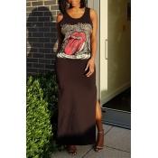 Encantador Vestido De Noche De Cuello Redondo Impreso De Algodón Negro Vestido De Longitud Lateral Tobillo Mezcla