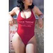 Lovely Trendy U Neck Letter Printed Wine Red Nylon One-piece Swimwears