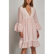 Lovely Fashion V Neck Flared Sleeves Pink Blending